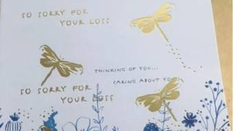 Kündigungsscheiben auf einer Trauerkarte