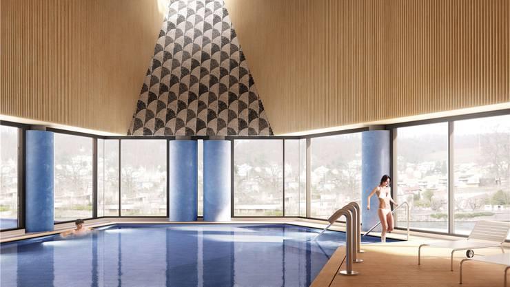 So soll das Botta-Bad in Baden im Inneren aussehen – mit Aussicht auf die Goldwand.