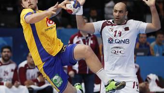 Dynamik an der Handball-WM: Hier Schwedens Albin Lagergren im Match gegen Katar