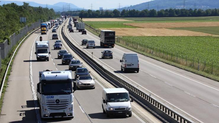 Die Autobahn A1 zwischen Niederbuchsiten und Oensingen.