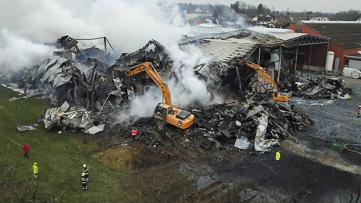 Beim Grossbrand bei der Tobi Seeobst AG in Egnach TG am 16. März 2018 entstand Schaden in Millionenhöhe.
