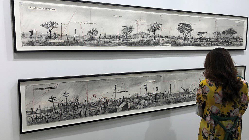 Im Kunstmuseum Basel und an der Art Basel ausgestellt: Kohlezeichnungen von William Kentridge.