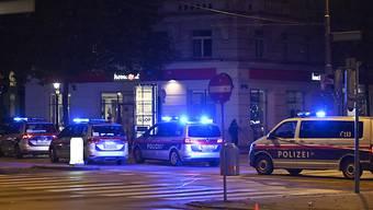 Polizeifahrzeuge stehen in der Wiener Innenstadt. Foto: Herbert Neubauer/APA/dpa