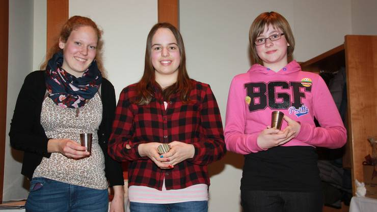 Vereinsmeister Jugend: Birgit Bolliger, Rahel Frei, Eileen Zürcher (von links)