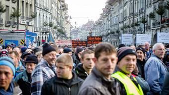 Aargauer Bauern protestieren gegen Sparpläne in Bern