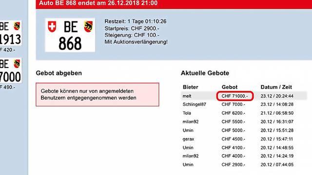 71'000 Franken für Nummernschild: Tippfehler anerkannt