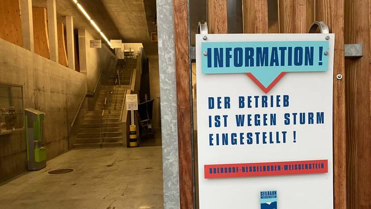 Seit Montag um 11 Uhr ist der Betrieb der Weissensteinbahn eingestellt.