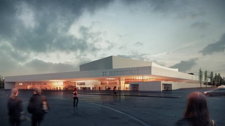 Die Aussenansicht der neuen Joggeli-Halle.
