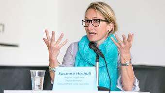 Regierungsrätin Susanne Hochuli referiert regelmässig über das Betreuungsangebot im Kanton Aargau.