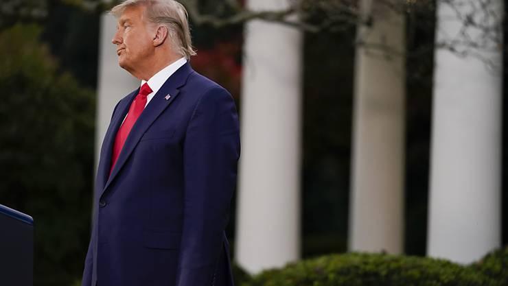dpatopbilder - Donald Trump, Präsident der USA, nimmt im Rosengarten des Weißen Hauses an einer Pressekonferenz teil. Foto: Evan Vucci/AP/dpa