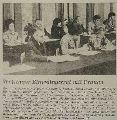 Die erste Einwohnerratssitzung mit Frauenbeteiligung im Januar 1974. (Archiv/az)