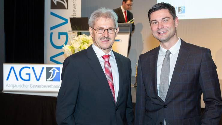 Gewerbeverbandspräsident Kurt Schmid mit seinem möglichen Nachfolger Benjamin Giezendanner.