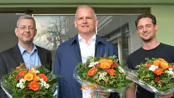 Der neue Präsident Daniel Frey (FDP, Mitte) mit seinen Vizes Rolf Wegmüller (CVP, l.) und Dominik Ritzmann (Grüne, r.)