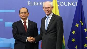 Burmas Präsident Thein Sein und EU-Präsident Van Rompuy in Brüssel