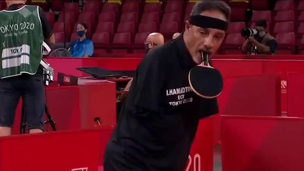 Tischtennis-Schläger im Mund: Ägypter begeistert bei den Paralympics