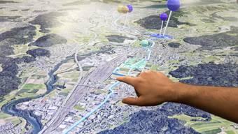 Das 3D-Modell der Limmatstadt AG führt einem die Zukunft der Region vor Augen.