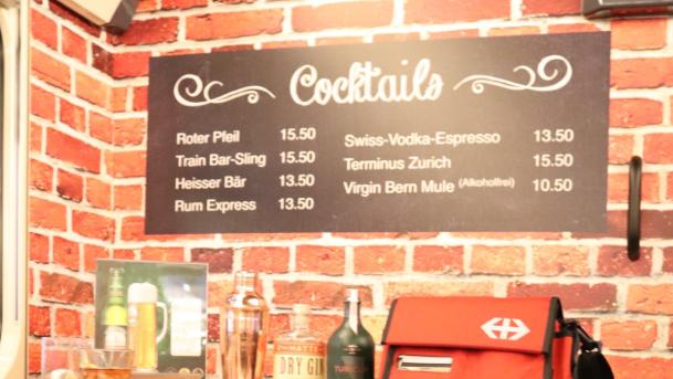 Die Cocktailkarte der SBB Bar