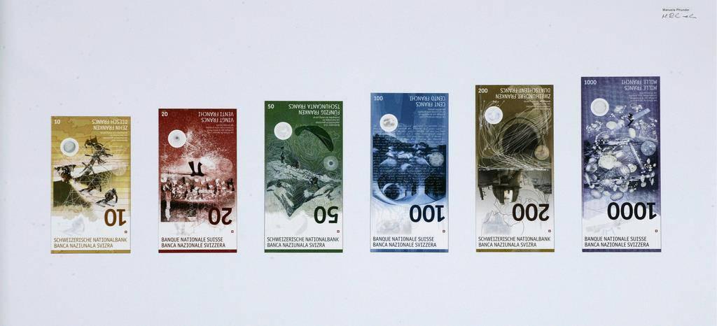 Entwürfe der neuen Banknoten: Ungefähr so dürften die neuen Nötli aussehen (© SNB/Keystone)