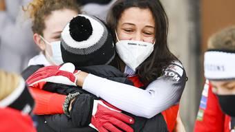Grosse Emotionen bei Melanie Hasler nach ihrem ersten Podetsplatz im Weltcup.