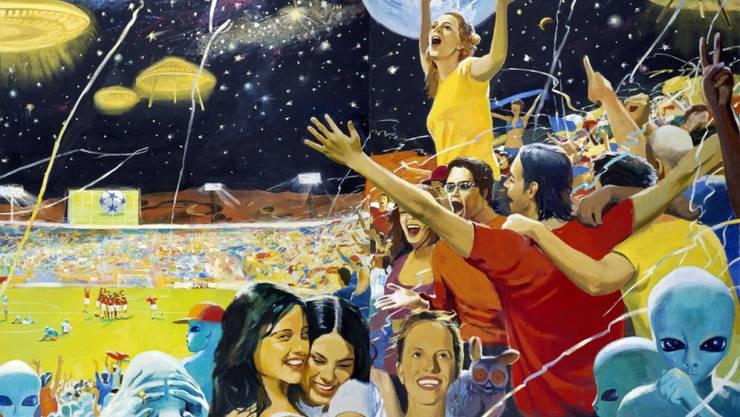 """Das Gemälde """"Earth Wins!"""" (2004) von Vladimir Dubossarsky & Alexander Vinogradov ist vom 5. April bis 30. Juni 2019 im Kunsthaus Zürich in der Ausstellung """"Fly me to the Moon"""" zu sehen."""