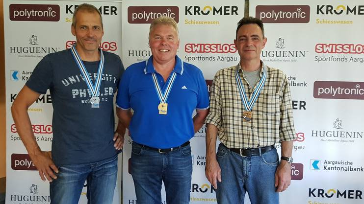 Neuer Aargauer-Meister Peter Haltiner (Mitte), Silber Willi Roland (links) und Bronze Lukas Müller (rechts)