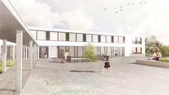 Die Gemeindeversammlung beschloss den Neubau eines Schulhauses und die Renovation der alten... Visualisierung