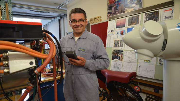 Urs Giger, Maschinenbauer und Windanlagen-Konstrukteur, in seiner Werkstatt in Mühlau.
