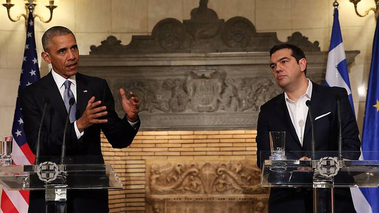 US-Präsident Barack Obama und der griechische Ministerpräsident Alexis Tsipras bei der Pressekonferenz in Athen.