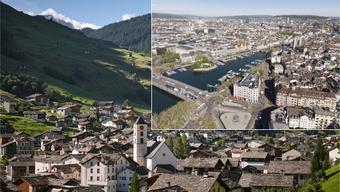 Laut Guglielmo Brentel, Präsident von Zürich Tourismus, suchen immer mehr Gäste als Ergänzung zum «aufgeregt Urbanen» auch die Entspannung in den Bergen. Bild: Vals GR und Zürich.