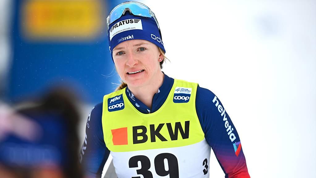 Nadine Fähndrich verlässt den Zielraum nach dem 10-km-Rennen.