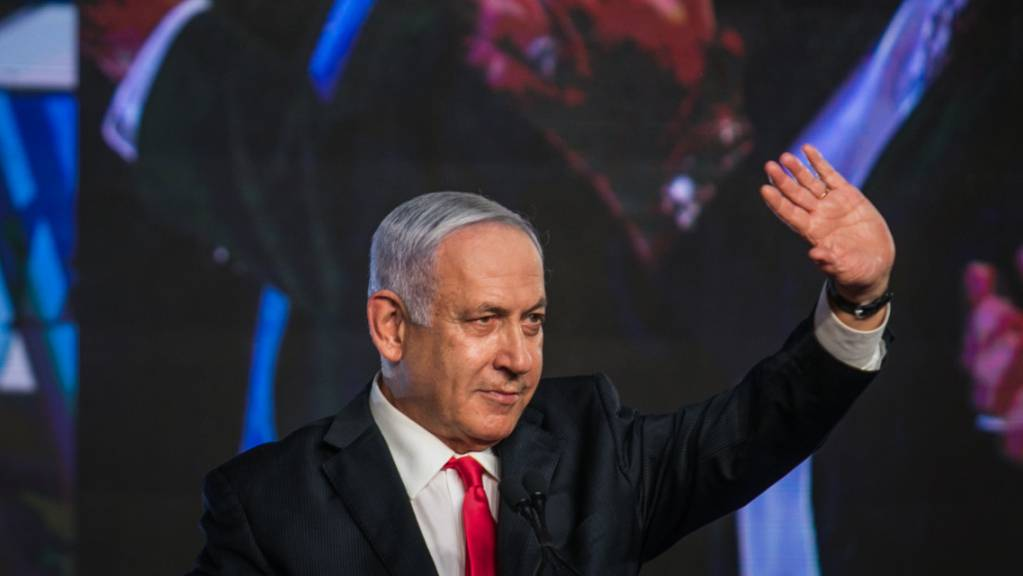 Israels Ministerpräsident Benjamin Netanjahu nach den Parlamentswahlen in Israel. Foto: Noam Moskowitz/dpa