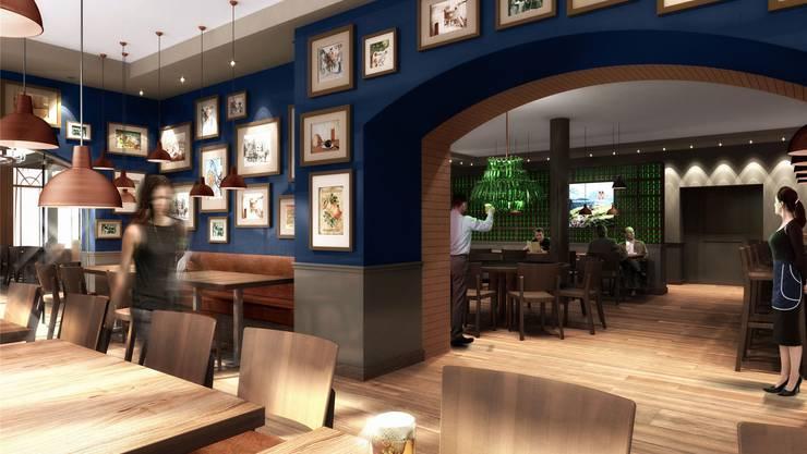Das neue Feldschlösschen-Restaurant in Rheinfelden ist mit sehr viel Holz gestaltet. Visualisierung zg