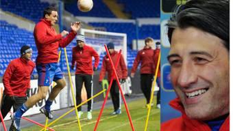Abschlusstraining an der White Hart Lane: David Degen, Alex Frei und Trainer Yakin hoffen auf eine Fortsetzung des Basler Europa-League-Höhenflugs.