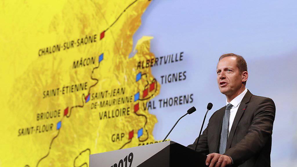 TdF-Direktor Christian Prudhomme präsentiert die Tour de France 2019