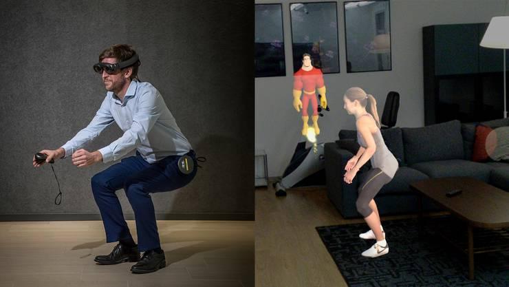 Physiotherapie als Mixed-Reality-Erfahrung. Matthias Heuberger, Leiter des CSS Health Lab, vollführt eine Kniebeuge, die ihm die virtuelle Trainerin Alexa (rechts) kurz zuvor vorgezeigt hat.