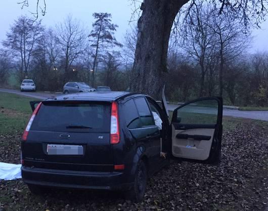 Das Auto prallte frontal gegen einen Baum.
