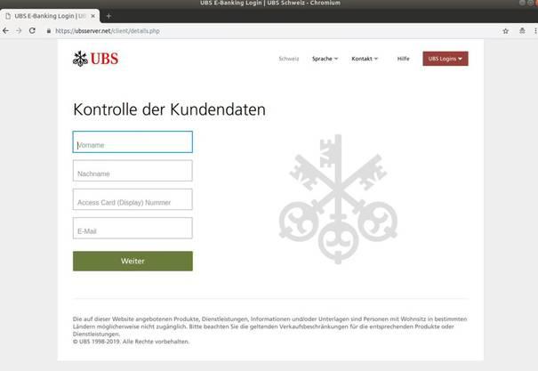 Wer auf dieser perfekt kopierten UBS-Webseite seine Daten eingibt, übergibt sie direkt den Betrügern.