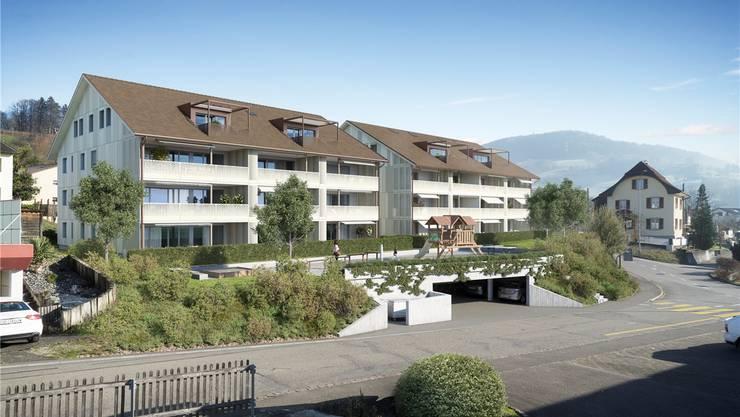 An der Mitteldorfstrasse in Oeschgen sollen in zwei Gebäuden 25 Mietwohnungen entstehen. Visualisierung zvg