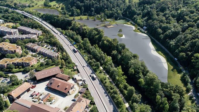 So soll der See in Münchenstein aus der Vogelperspektive aussehen.