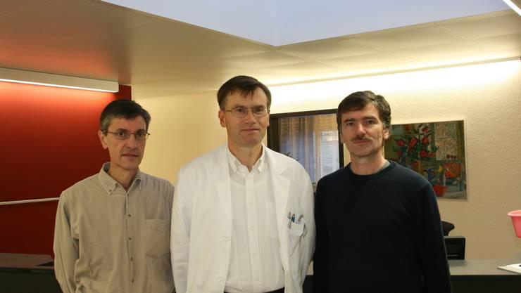 In neuer Gemeinschaftspraxis: Jakob Frey, Paul Hufschmid, Severin Lüscher (von links) (Bild: Barbara Vogt)