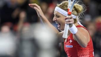 Ekstase nach dem hart erkämpften Sieg: Timea Bacsinszky