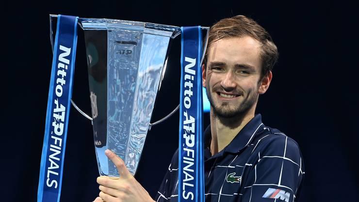 Der Russe Daniil Medwedew feiert seinen Sieg am ATP-Finale gegen den Österreicher Dominic Thiem in London. (Archivbild)