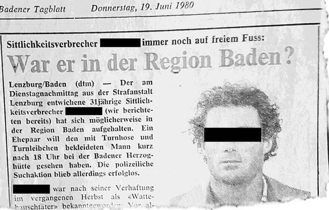 Der «Chloroform-Unhold» im «Badener Tagblatt», 19. Juni 1980