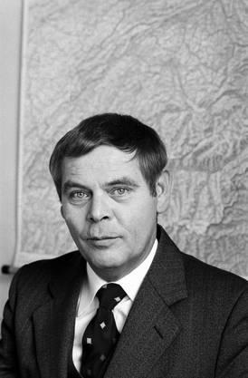 Hans-Rudolf Strasser, Informationschef des Eidgenössischen Militärdepartements, EMD, und Führungsmitglied der Geheimorganisation P-26, aufgenommen am 16. Dezember. 1980.