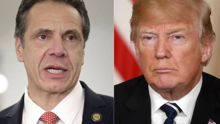 Der New Yorker Gouverneur  Andrew Cuomo (links) übt einmal mehr harsche Kritik an US-Präsident Donald Trump wegen dessen Verharmlosung der Corona-Pandemie. (Archivbild)