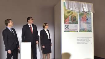 Bern - 6.4.16 - Zum ersten Mal wurde heute die neue 50-Franken-Note präsentiert. Nach zehn Jahren Produktion soll sie nächsten Dienstag in Umlauf kommen.