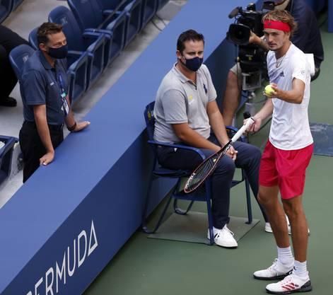 Supervisor Egli im Gespräch mit Alexander Zverev beim US Open 2020.