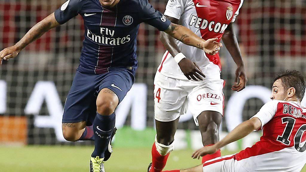 Bernardo Silva (rechts) vermochte mit dem AS Monaco den Titelverteidiger Paris Saint-Germain zu stoppen