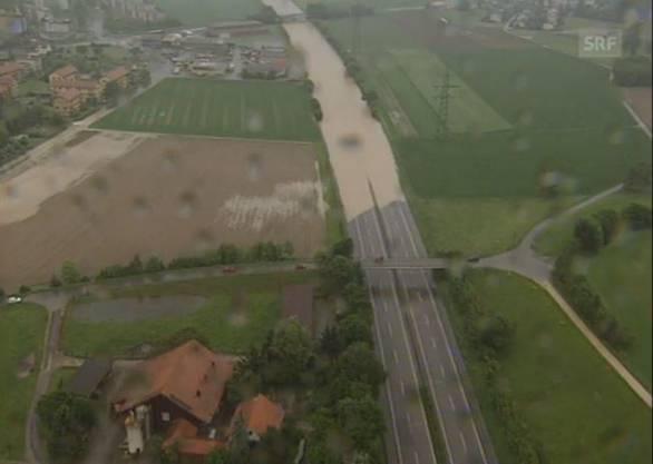 Hier gut zu sehen: Die Überflutung der N1.