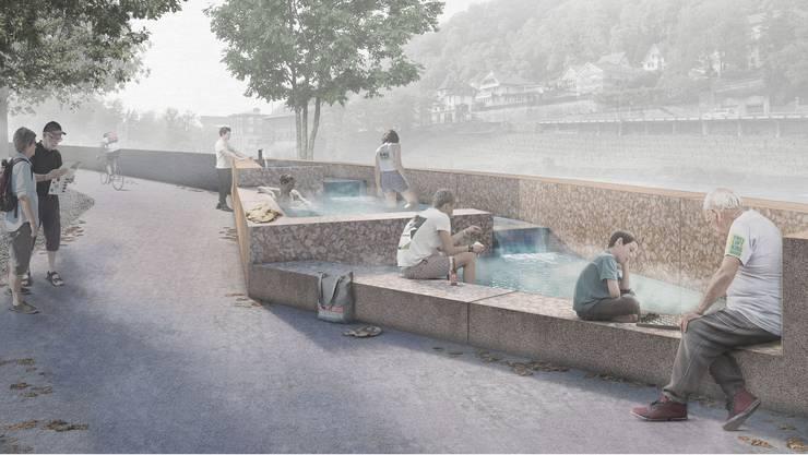 So soll der Heisse Brunnen am Limmatufer aussehen. (Visualisierung)